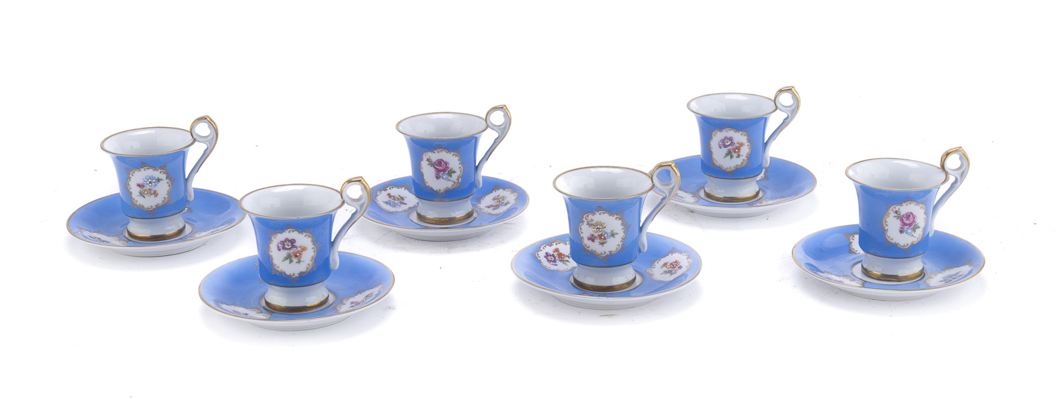 SIX PORCELAIN CUPS EAST GERMANY 20TH CENTURY