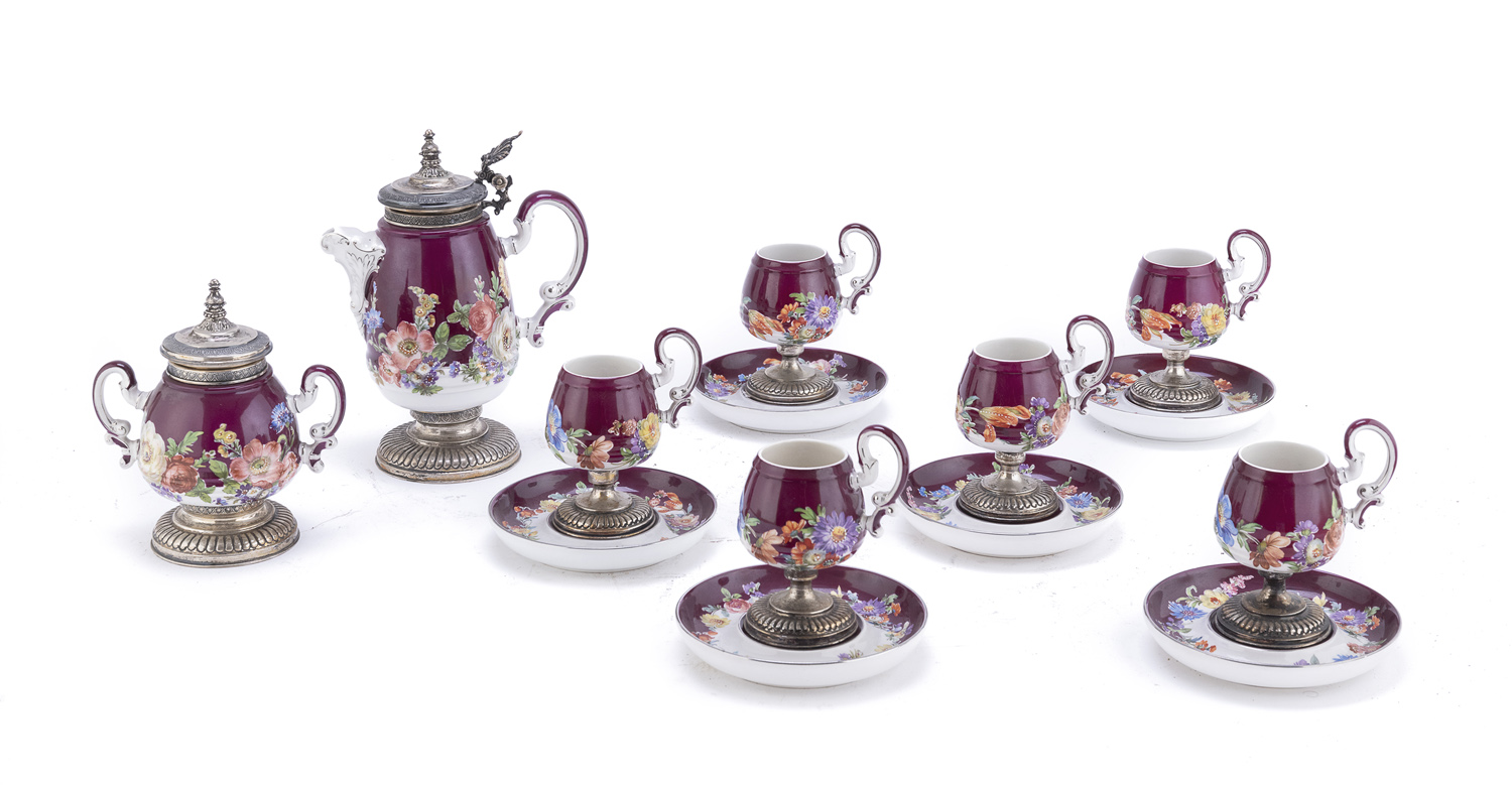 COFFEE SET IN CERAMIC AND SILVER 20TH CENTURY