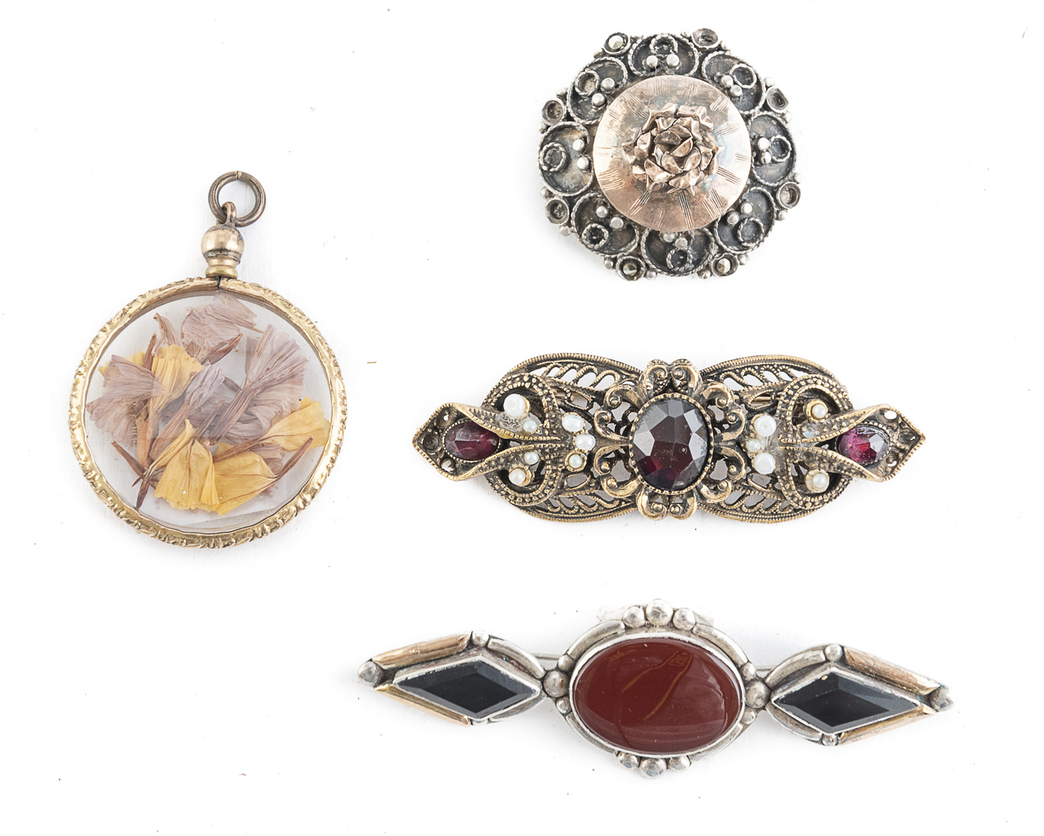 THREE BROOCHES AND A PENDANT LIBERTY PERIOD