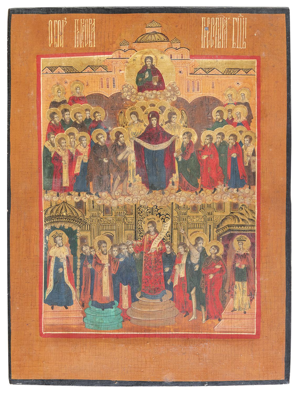 RUSSIAN TEMPERA ICON LATE 19TH CENTURY