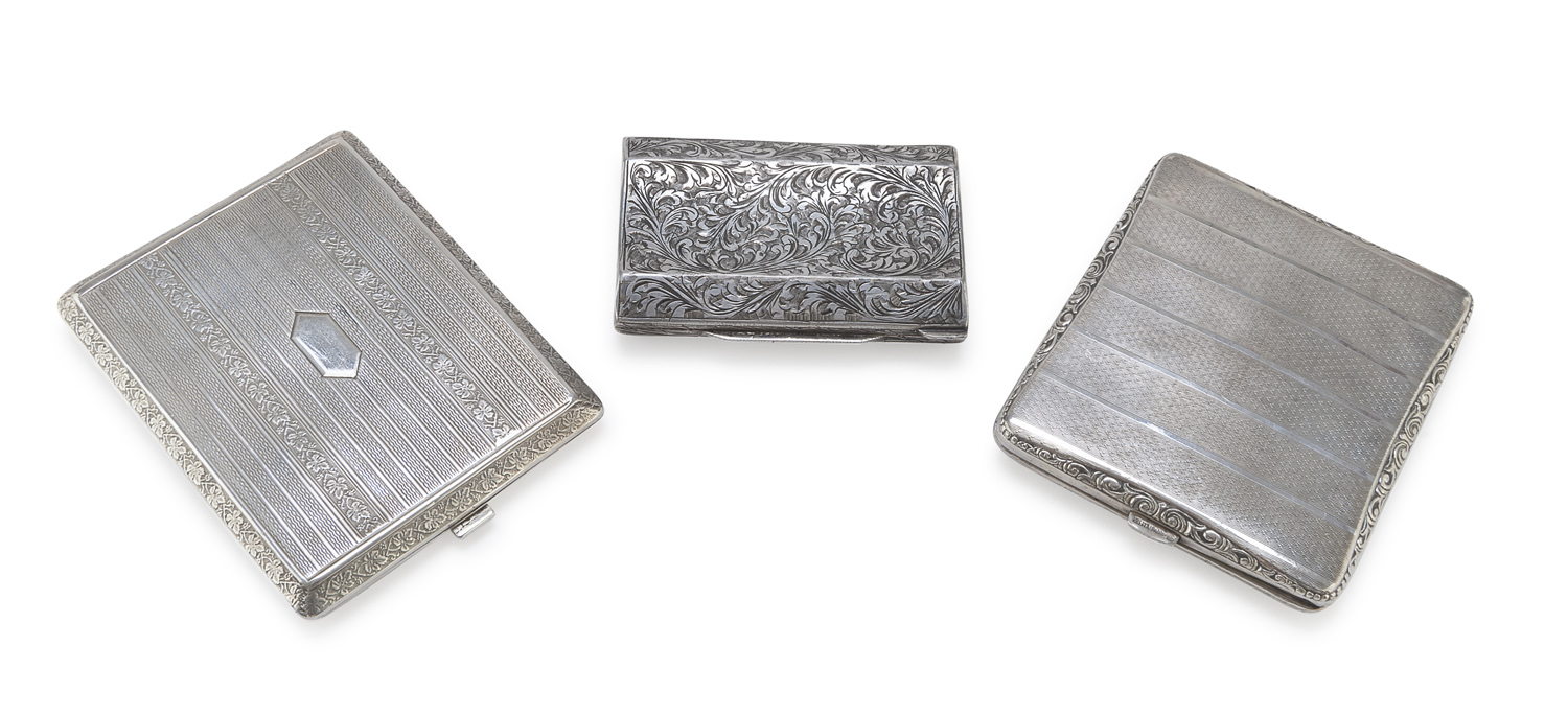 THREE SILVER AND SILVER-PLATED CIGARETTE CASES ITALY 1944/1968