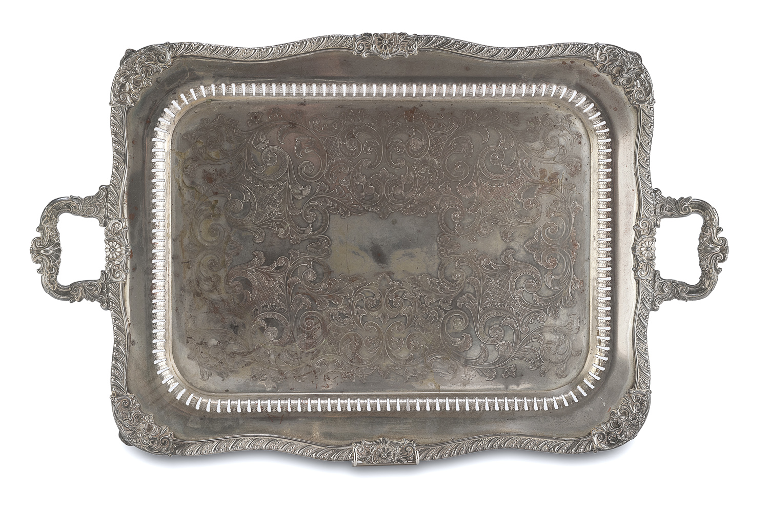 LARGE SILVER-PLATED TRAY EARLY 20TH CENTURY