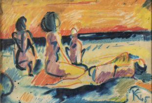WAX PASTELS AND MIXED MEDIA BY PAINTER OF THE 20TH CENTURY