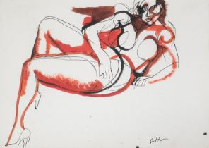 GOUACHE AND INK BY RENATO GUTTUSO 1965