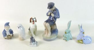 A group of seven ceramic figurines, comprising a Herend figurine, modelled as two rabbits, painted