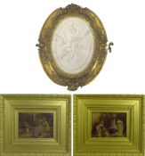 Two Victorian crystoleum pictures, in deep gilt frames, together with an oval carved marble plaque