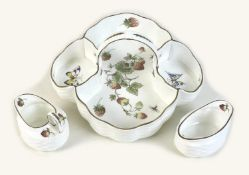 A Coalport bone china strawberry set, decorated in the 'Strawberry' pattern, comprising tray with