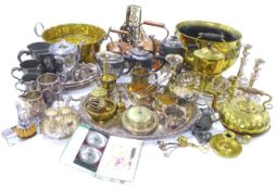 A collection of silver plated, brass, copper and other metal items, including twin handled oval