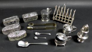 A group of George V and later silver items, including two mustard pots with lids, one of cauldron