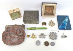 A group of collectables, including two travel clocks, an evening bag, a Chinese white metal box, a