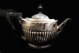 A Victorian silver teapot, of tapering cylindrical form with reeded lower body, ebonised handle