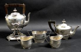 Five late 19th century Gorham Sterling silver tea wares, comprising three piece set bearing