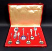 A cased set of Danish commemorative silver spoons, comprising a Christian IX and Queen Louise