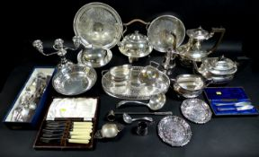 A quantity of silver plate including a kettle with cane handle on spirit warming stand, Martin