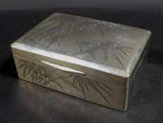 A 20th century Chinese silver cigarette box, with blank cartouche bamboo decoration to its lid, as