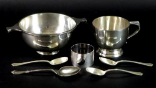 A group of silver table items, comprising a George V quaich, engraved 'G.E.P. 1934', Walker and