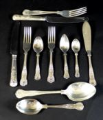 A canteen of silver plated cutlery, in the King's pattern for eight place settings by W. Wright,