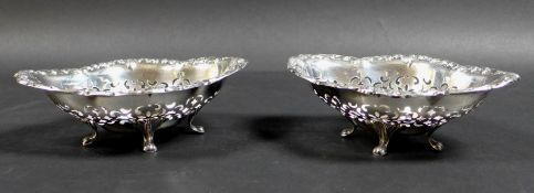 A pair of early 20th century Canadian silver bon bon dishes, of quatrefoil form, each bowl with