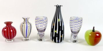 A group of modern Mike Hunter 'Twists' Scottish studio glass, comprising an apple form ornament, 8.5