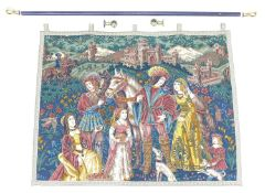 A 20th century French Tapestry style linen wall-hanging, the linen ground printed with scene