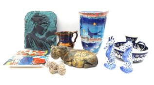 A group of decorative ceramics and collectables, comprising a Studio Pottery vase of folded edge