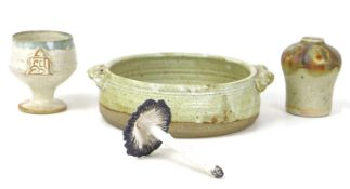 A group of four Studio Pottery items, comprising a Wolfscastle Pottery, Pembrokeshire shallow bowl