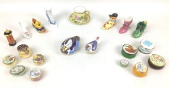 A collection of novelty porcelain wares including Royal Crown Derby and Coalport, comprising two