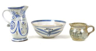 A group of studio pottery ceramics, comprising a bowl decorated in blue and white, with impressed LL