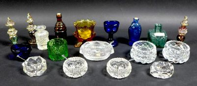 A group of cut and pressed glass, including a Victorian orange glass toothpick holder, 6 by 6.5cm, a