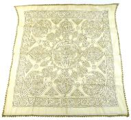 An Islamic linen panel, likely 19th or early 20th century, possibly Turkish, the cream ground hand