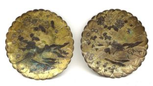 A pair of Shakudo style Japanese small decorative dishes, early to mid 20th century, of lotus flower