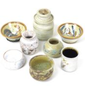 A group of Studio Pottery ceramics, comprising a jar and cover, with decorated lid, impressed mark