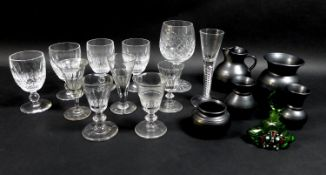 A group of drinking glasses, including an air twist stem glass, and cut glasses, together with a