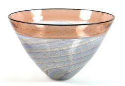 A modern Mike Hunter 'Twists' Scottish studio glass incalmo bowl, with orange rim, fine spiral bands