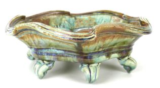 John Calver (British, 20th century): a large wavey edged studio pottery dish, of typical form,