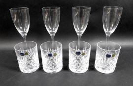 A group of glass tableware, comprising two pairs of Dartington Crystal 'Rachel Small Wine
