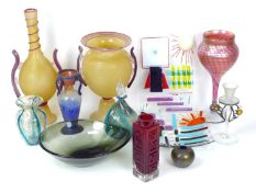 A group of decorative and Studio Glass wares, comprising a Geoffrey Baxter for Whitefriars Greek Key