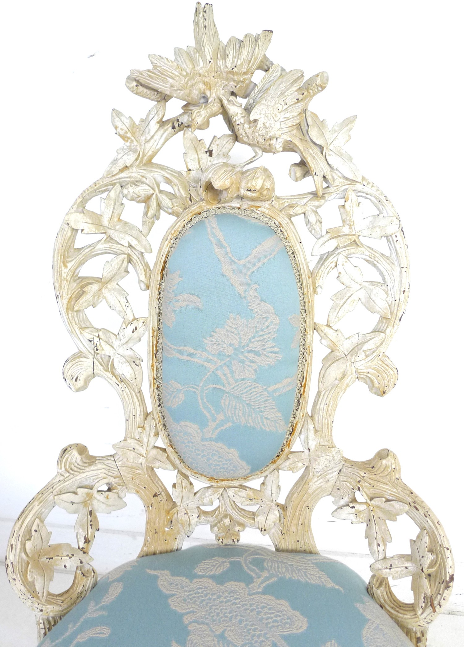 A Victorian nursing chair with cream painted carved frame, raised on cabriole legs to the front - Image 7 of 7