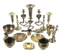 A large collection of brasswares including three Indian brass niello cobra candlesticks, each 14cm