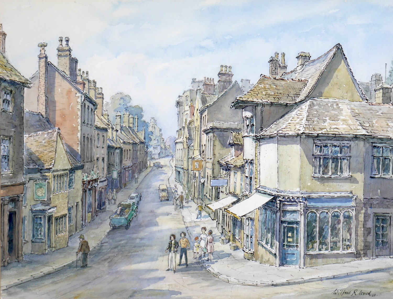Wilfrid Rene Wood (British, 1888-1976): a view of Stamford, depicting ?All Saints Place? (No 48),