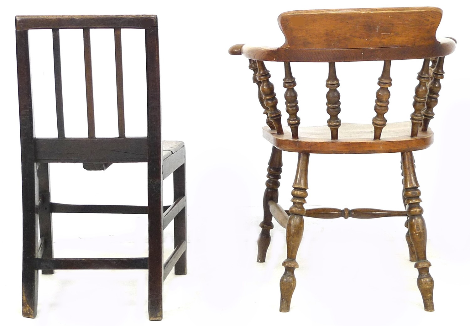 A Scandinavian oak nursery chair, with three rail back, 44 by 48 by 78cm high, together with a - Image 3 of 4