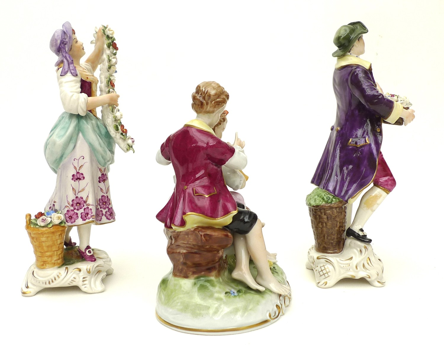 A pair of Rudolstadt Volkstedt figurines, in the Dresden style, comprising male and female flower - Image 4 of 7