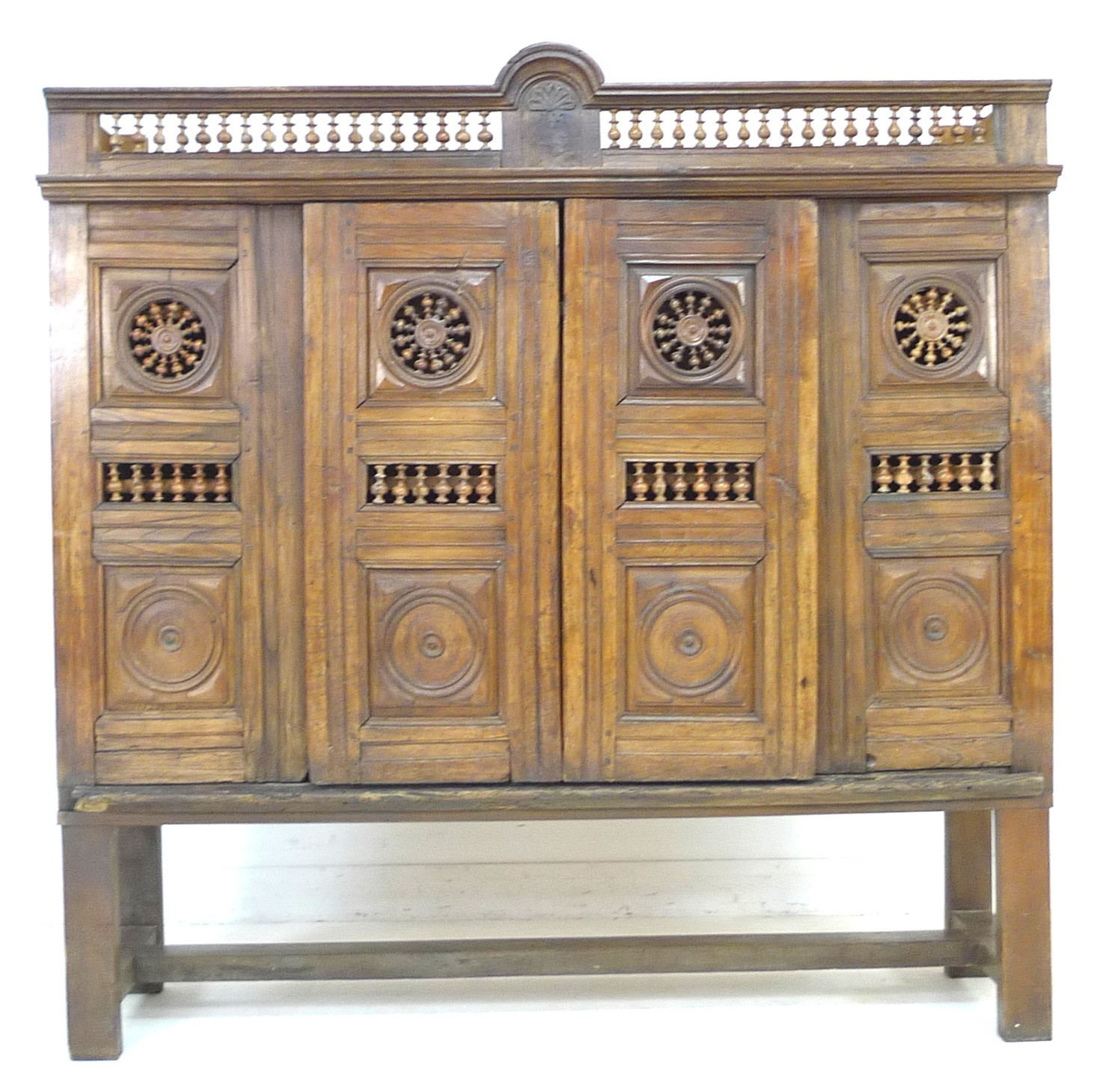 A French oak cupboard, 19th century and later, with carved and baluster detail, bears carved date ' - Image 2 of 6