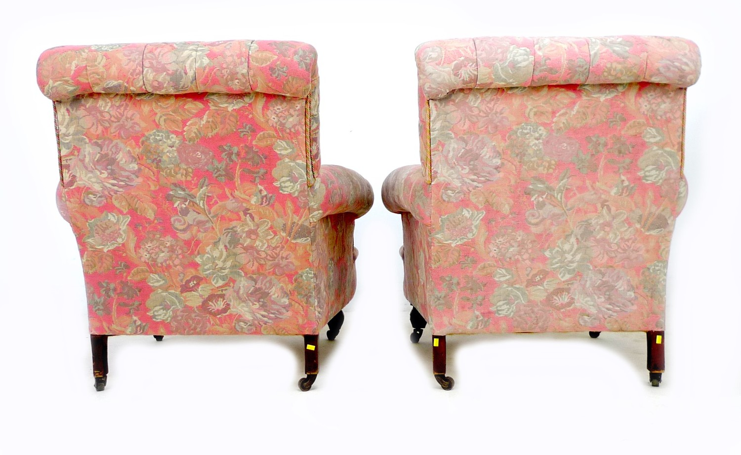 A pair of Victorian easy armchairs, in the style of Howard & Sons, upholstered in pink and grey - Image 3 of 4