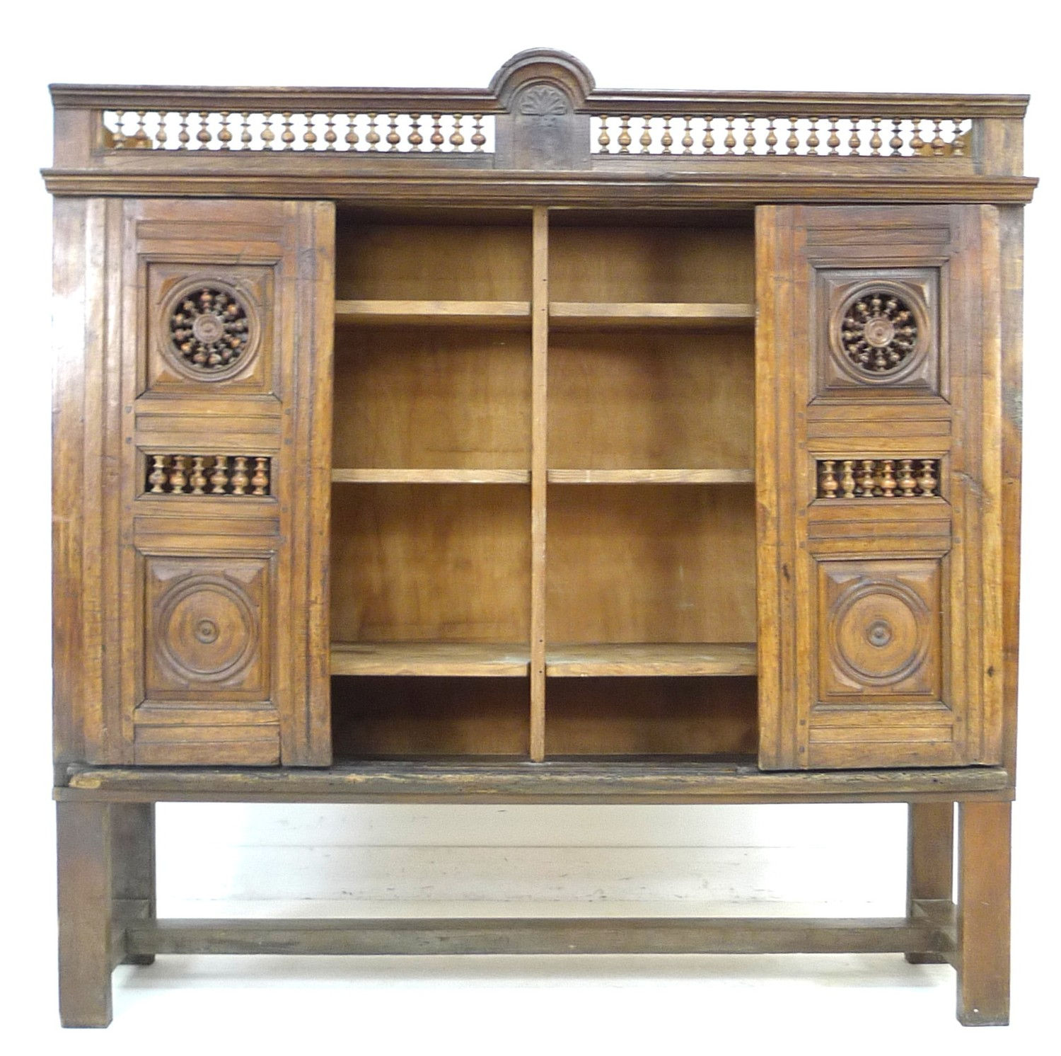 A French oak cupboard, 19th century and later, with carved and baluster detail, bears carved date ' - Image 4 of 6