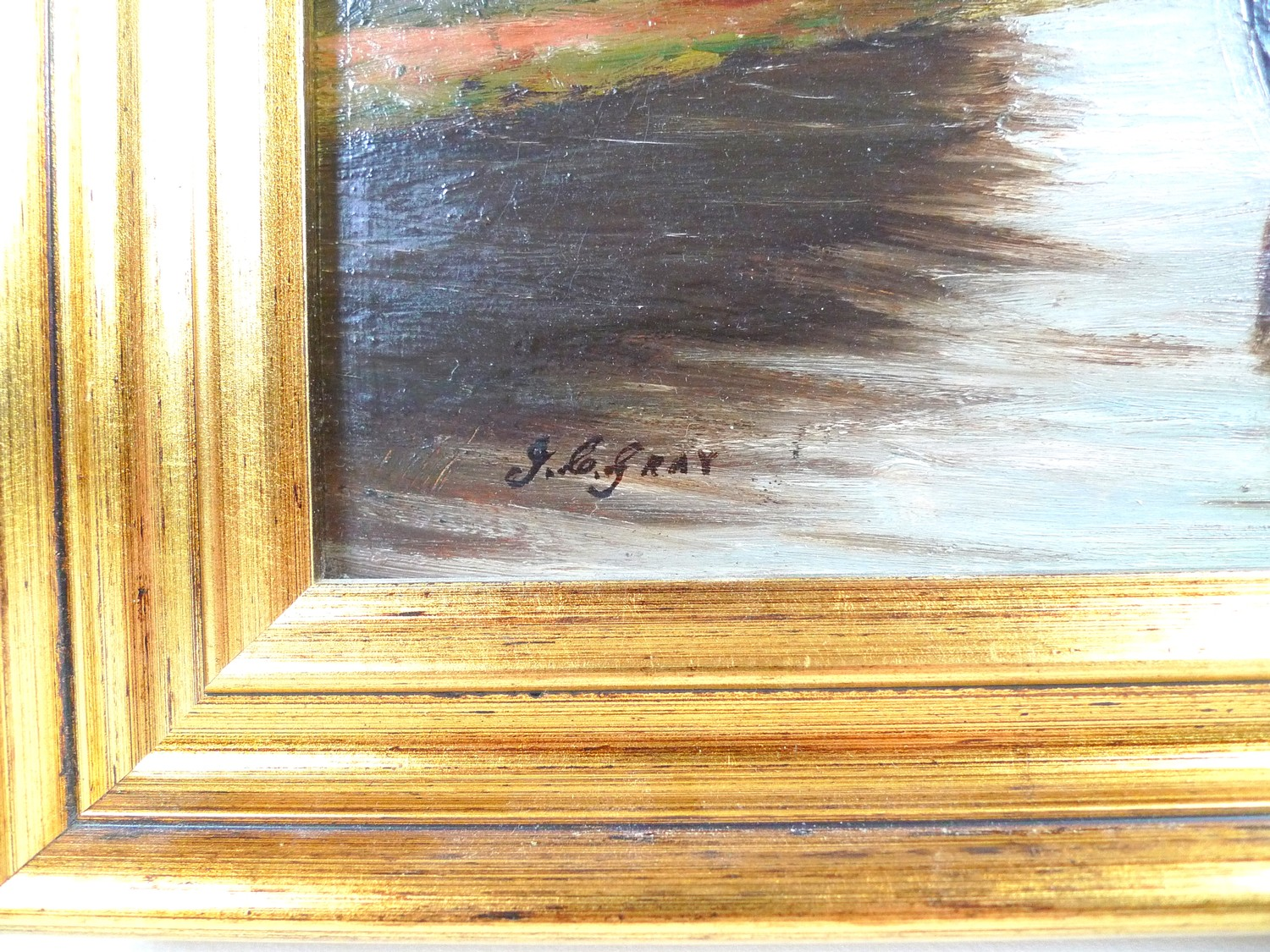 John C. Gray (Scottish, circa 1880-1945): boats on a river, signed lower left, oil on board, 16.5 by - Image 3 of 5
