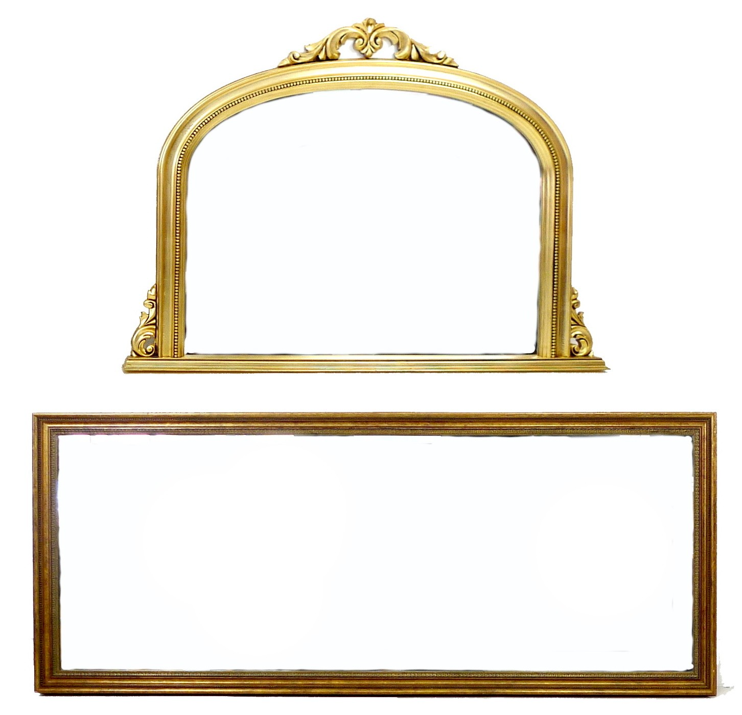 A modern Victorian style overmantle mirror, with gold coloured frame and bevelled arched plate,