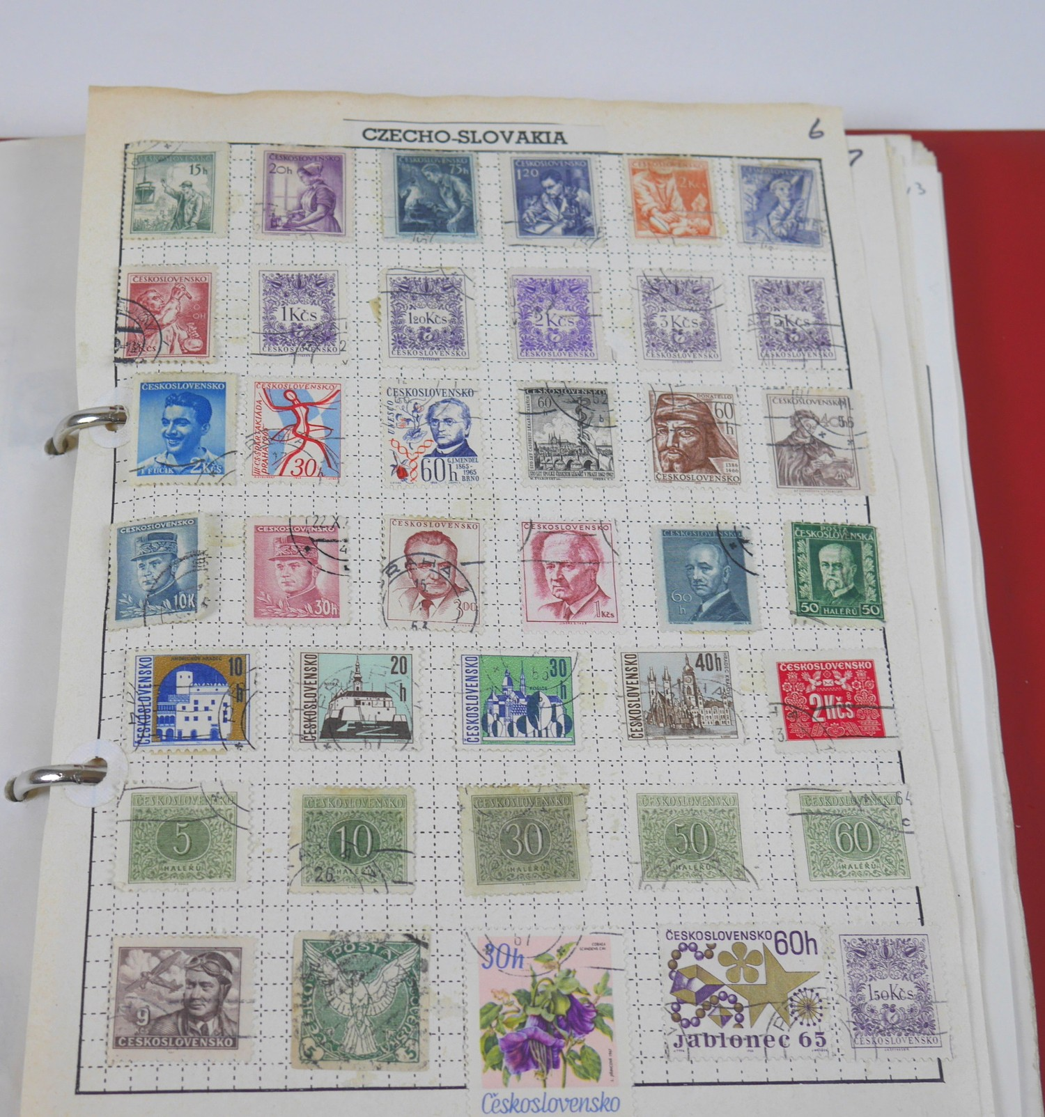 A collection of 20th century World stamps contained within six albums, mostly franked, together with - Image 4 of 12