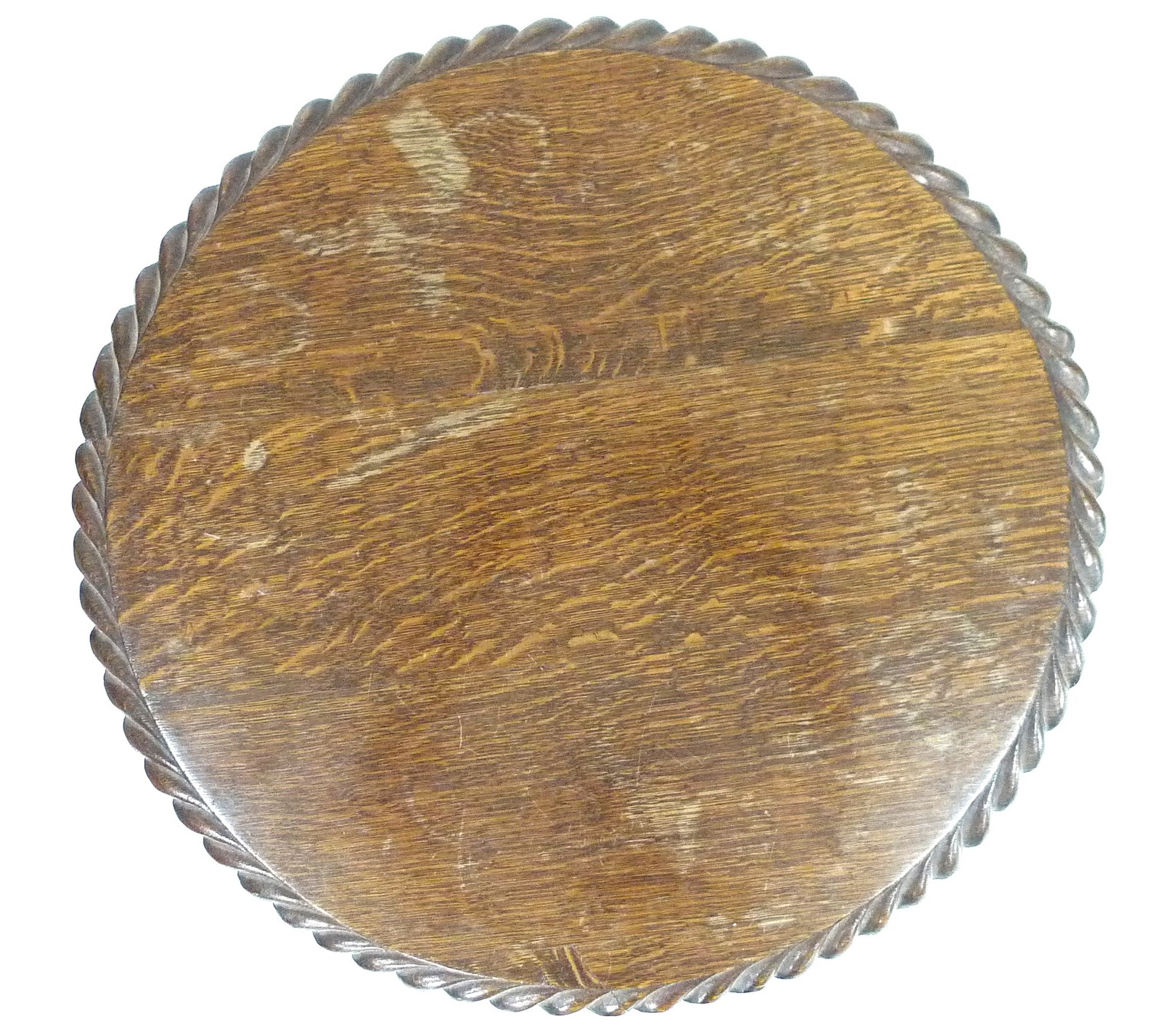 A late Victorian oak wine table, the circular surface with carved gadrooned edge, raised on a lappet - Image 2 of 2