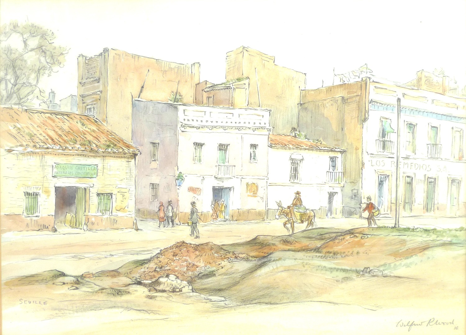 Wilfrid Rene Wood (British, 1888-1976): 'Seville', depicting a street scene, pencil and watercolour,